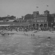 Image of Crowds on the Beach and Boardwalk at North Beach Bath House - undated