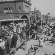 Image of Crowds on the Boardwalk and Sand at North Beach Bath House - undated