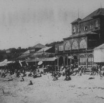 Image of Beachgoers at North Beach Bath House, Near Camera Obscura - undated