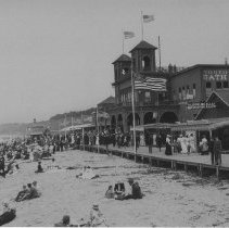 Image of Beachgoers and Boardwalk Crowd near North Beach Bath House - undated