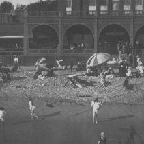 Image of Beachgoers at North Beach Bath House - undated