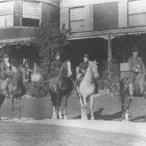 Image of Georgina, Alice, Marion Jones and Man on Horseback, Miramar - undated