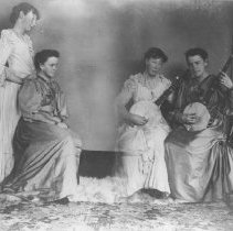 Image of Two Daughters of John P. Jones Playing Banjos - undated