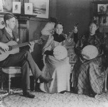Image of Marion and Georgina Jones Playing Banjos at Miramar - undated