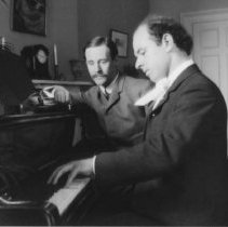 Image of Pablo Casals (Cellist) at Piano with Robert D. Farquhar - undated