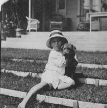 Image of David Farquhar with Dog in Backyard - undated