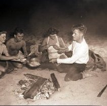 Image of People Cooking Grunion on the Beach - 1946/07