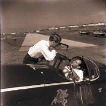 Image of James Stewart at Clover Field, Santa Monica, 1949 - 1949/08/25