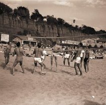 Image of Playing Volleyball on Beach, 1949 - 1949/04/03