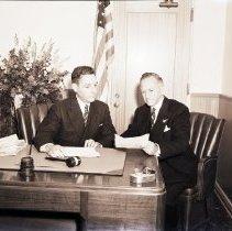 Image of Mayor Crawford at Santa Monica City Hall, 1941 - 1941/06/11