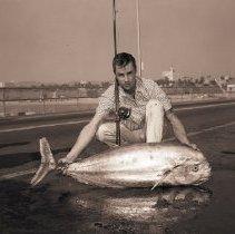Image of Fisherman with Rare Catch, Santa Monica Pier - 1959