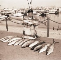 Image of Fisherman with Catch of  Yellowfin Tuna - 1959/05/01