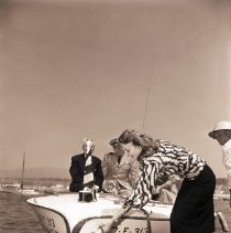 "Image of Carole Mathews Christens Lifeguard Boat, ""Bay Watch"" - 1947/08/21"
