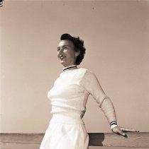 Image of Tennis Star Gussie Moran Models Sweater, 1948 - 1948/10/12
