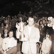 Image of Ben Hogan Holds Trophy Aloft at the National Open, 1948 - 1948/06/08