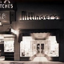 Image of Exterior Night View of Nittinger's Hardware on 3rd Street, 1940 - 1940/01/12