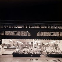 Image of Exterior Night View of Elmer Lebert's Markets on Montana Avenue, 1940 - 1940/01/17