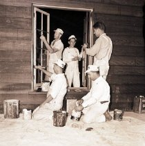 Image of Workers Paint Lodge at Camp Josepho, 1941 - 1941/06/21