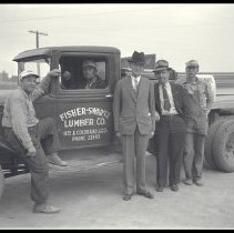 Image of Fisher-Swartz Lumber Company Truck and Personnel - 1936/02/05