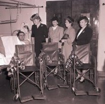 Image of Catholic Daughters Present Wheel Chairs to Veterans, 1945 - 1945/12/21