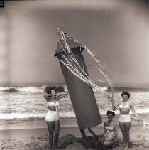 Image of Women Pose with Oversize Firecracker, 1952 - 1952/07/01