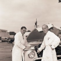 Image of Santa Monica Ford Personnel with Woodie, 1950 - 1950/06/22