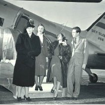 Image of Betty Rogers at the Airport with Son Bill, 1939 - 1939/03/13