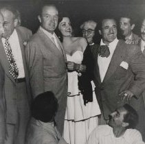 Image of Wrestler Baron Michele Leone with Bob Hope and Jane Russell - undated