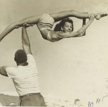Image of Johnnie Collins and Dodie Abro at Muscle Beach - undated