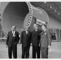 Image of President Lyndon B. Johnson and Donald  W. Douglas at McDonnell Douglas Aerospace Company - undated