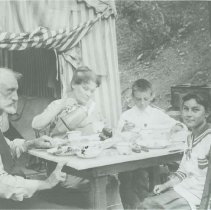 Image of Abbot Kinney and Family at an Outdoor Meal - undated