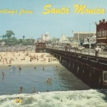 Image of Postcard of the Santa Monica Pier and Ocean - undated