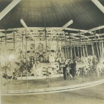 Image of Inside the Carousel Building at the Looff Pier - undated