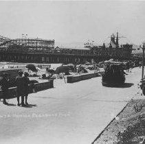 Image of Tram on the Boardwalk by the Santa Monica Pier - early 1900s