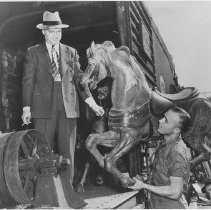 Image of Unpacking Horse for Pier Carousel - undated