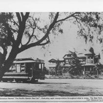 Image of Pacific Electric Streetcar and Victorian House - 1910