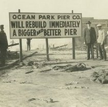 Image of Pickering and Lick Pier Fire Damage and Rebuild Sign, 1924 - 1924