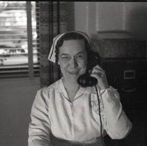 Image of Nurse on Phone in Santa Monica Hospital, 1941 - 1941