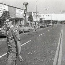 Image of Boy Scout Crossing Retail Street, 1969 - 1969/07/24