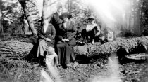 Image of Photograph of an unidentified family sitting on a fallen tree