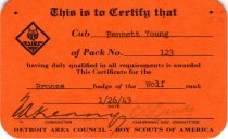 Image of 1960.189.001a - Certificate, Achievement