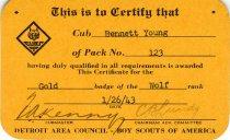 Image of 1960.189.001c - Certificate, Achievement
