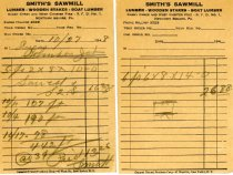 Image of Smith's Sawmill invoices 1948