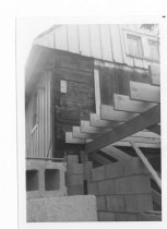 Image of HL108 - Flintlock - Close up of Floor Joist  and cinder block wall 1962 addition