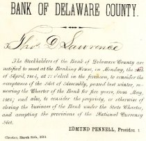 Image of LW204 - Bank of Delaware County Shareholder Meeting Notice