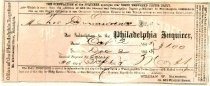 Image of LW205 - Receipt for subscription to Phila. Inquirer