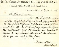Image of LW251 - Philadelphia & Chester County Railroad Co. Agreement