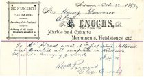 Image of Receipt for Headstone from Alex Enochs, Ardmore PA