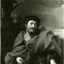 Image of Flemish 17th Century Portrait.  Showing man from waist up, wearing draped robe.  Head turned slightly to right looking to right.  Long mustache and beard.  Bushy hair.  Right hand holding instrument, above rabbit, lying on table.  Forefinger of left hand pointing at open paper on top of book.
