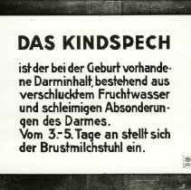 Image of Close-ups of displays, panels and diagrams at the German Hygiene Museum in the early 1930's. These focus on infant/child development, male and femal sex organs, pregnancy and child care. All photos are black and white.